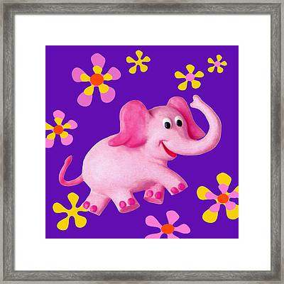 Happy Pink Elephant Framed Print