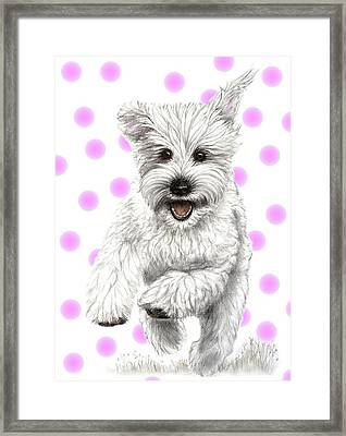 Framed Print featuring the drawing Happy Pink Polka Dots Doggy  by Heidi Kriel