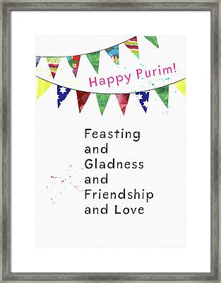 Framed Print featuring the mixed media Happy Purim Card- Art By Linda Woods by Linda Woods