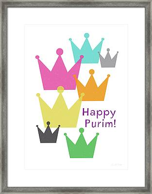 Happy Purim Crowns - Art By Linda Woods Framed Print