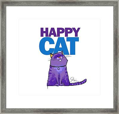 Happy Purple Cat Framed Print