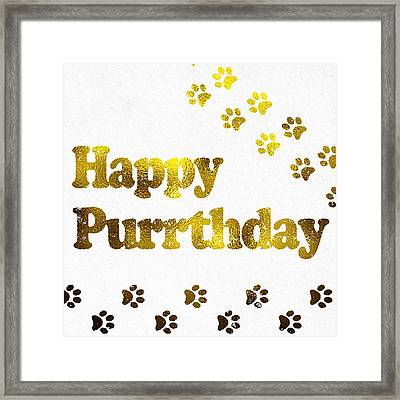 Happy Purrday Gold Framed Print by Sabine Jacobs