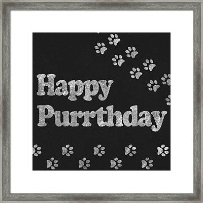 Happy Purrthday Black And Silver Framed Print by Sabine Jacobs