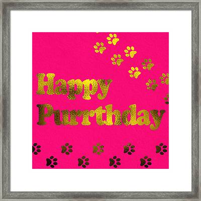Happy Purrthday Pink Framed Print by Sabine Jacobs