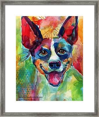Happy Rat Terrier Watercolor Portrait Framed Print