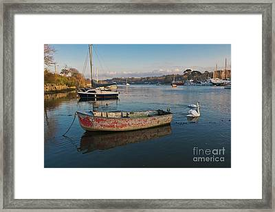 Happy Reflections Of An Old Red Boat Framed Print by Terri Waters