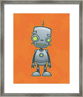 Happy Robot Framed Print by John Schwegel