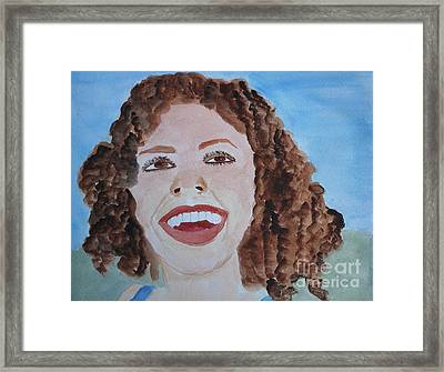 Framed Print featuring the painting Happy by Sandy McIntire