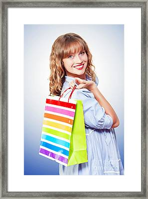 Happy Shopaholic Returning With Her Purchases Framed Print