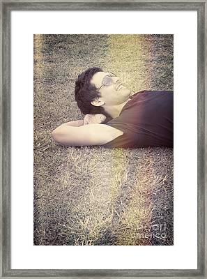 Happy Smiling Man Resting On Summer Holiday Framed Print by Jorgo Photography - Wall Art Gallery