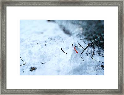 Happy Snow Man Framed Print by Sun Wu