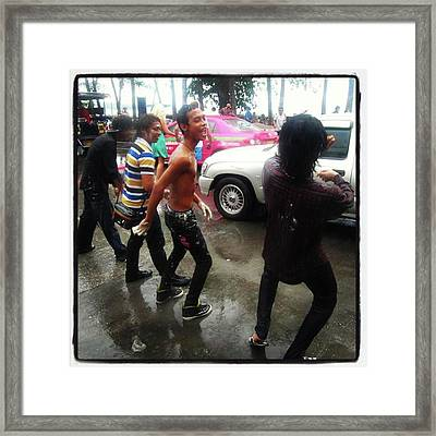 Framed Print featuring the photograph Happy Songkran. The Water Splashing by Mr Photojimsf