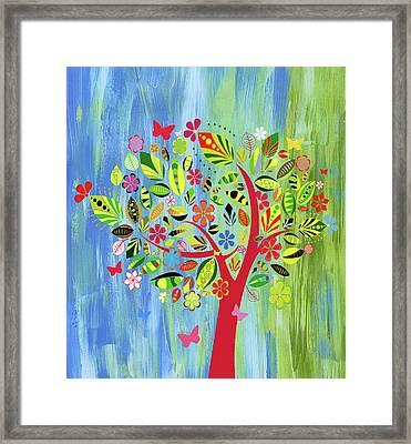 Happy Spring Dance Whimsy Framed Print