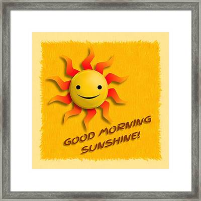 Happy Sun Face Framed Print by John Wills
