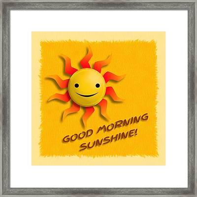 Happy Sun Face Framed Print