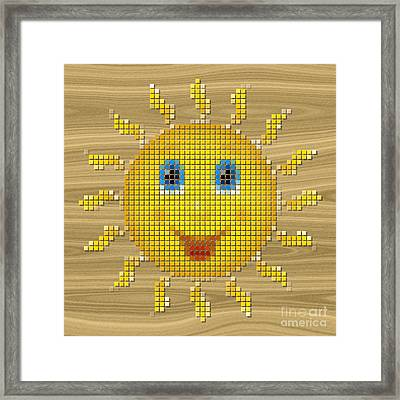Happy Sun Pixelated Framed Print