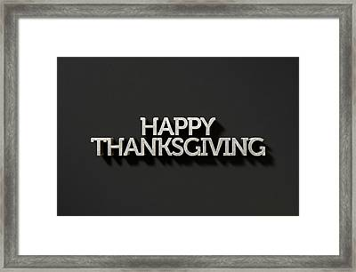 Happy Thanksgiving Text On Black Framed Print by Allan Swart