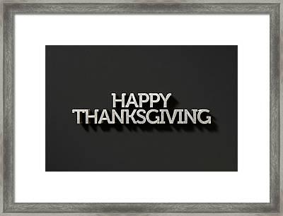Happy Thanksgiving Text On Black Framed Print