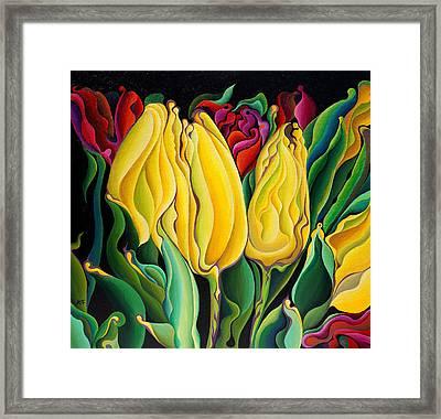 Happy-time Yellow Three-lips Framed Print
