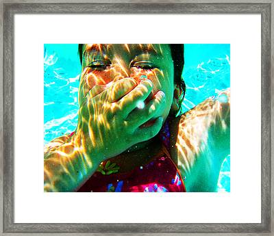 Happy Under Water Pool Girl Horizontal Framed Print by Tony Rubino