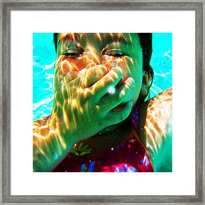 Happy Under Water Pool Girl Square Framed Print by Tony Rubino