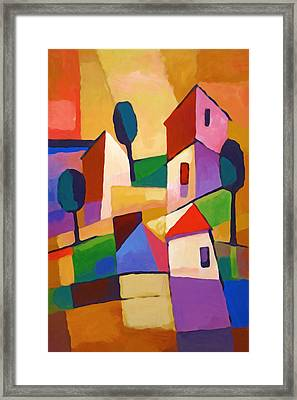 Happy Village Framed Print by Lutz Baar
