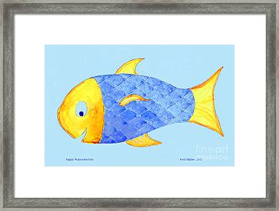 Happy Watercolor Fish Framed Print