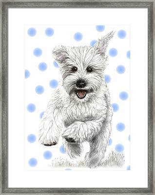 Framed Print featuring the drawing Happy Blue Polka Dots Doggy by Heidi Kriel