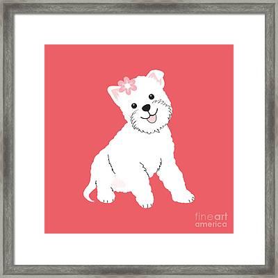 Happy Westie Framed Print by Natalie Kinnear
