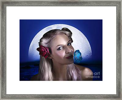 Happy Woman At Moon Light Beach Party Framed Print by Jorgo Photography - Wall Art Gallery