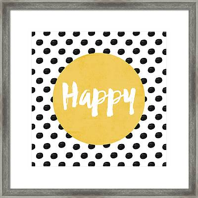 Happy Yellow And Dots Framed Print