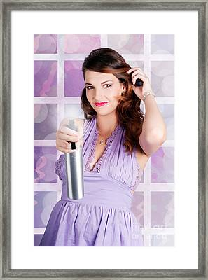 Happy Young Housewife Cleaning With Spray Bottle Framed Print by Jorgo Photography - Wall Art Gallery