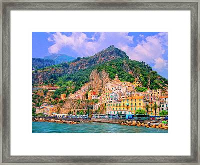 Harbor At Amalfi Framed Print by Dominic Piperata