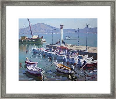 Harbor At Oropos Athens Framed Print