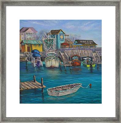 Harbor Boats Coastal Painting Of Southport North Carolina Framed Print