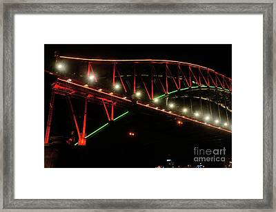 Framed Print featuring the photograph Harbor Bridge Green And Red By Kaye Menner by Kaye Menner