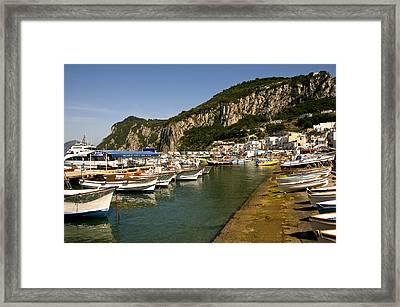 Harbor Capri Italy Framed Print by Xavier Cardell