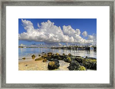 Harbor Clouds At Boynton Beach Inlet Framed Print by Debra and Dave Vanderlaan