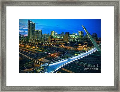 Harbor Drive Pedestrian Bridge And Petco Park At Night Framed Print by Sam Antonio Photography