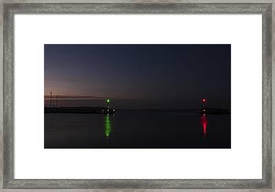 Harbor Evening Framed Print by Kim Lessel