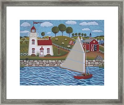 Harbor Light Framed Print by Mary Charles