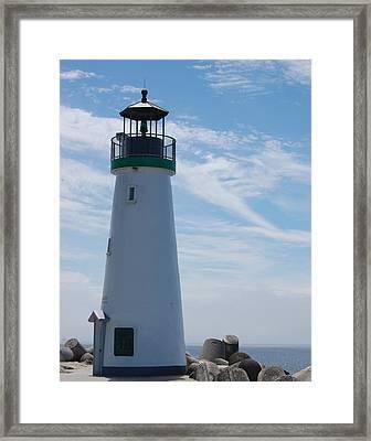harbor lighthouse Santa Cruz Framed Print
