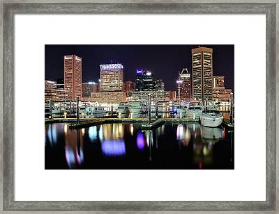 Harbor Nights In Baltimore Framed Print by Frozen in Time Fine Art Photography
