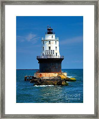 Harbor Of Refuge Lighthouse Framed Print
