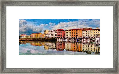 Harbor Reflections In Panoramic Framed Print by Sue Melvin