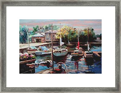 Harbor Sailboats At Rest Framed Print by Ron Chambers