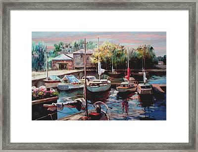 Harbor Sailboats At Rest Framed Print