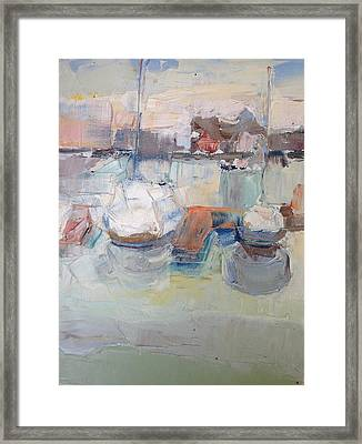 Harbor Sailboats Framed Print