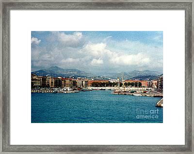 Harbor Scene In Nice France Framed Print by Nancy Mueller
