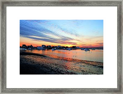 Harbor Sunset At Low Tide Framed Print
